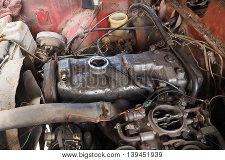 old engine was overhauled, Car repair concept.