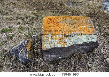 Stone khachkar with traditional ornament at Noratus medieval cemeteryArmeniaunesco cultural heritage site and famous tourist attraction