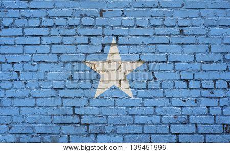 Flag of Somalia painted on brick wall background texture