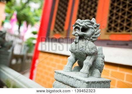 Chinese guardian lions in temple
