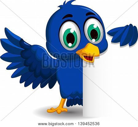 cute blue bird cartoon with a blank sign