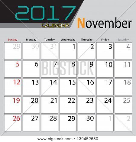 Calendar November 2017 colors design on gray background vector illustration.