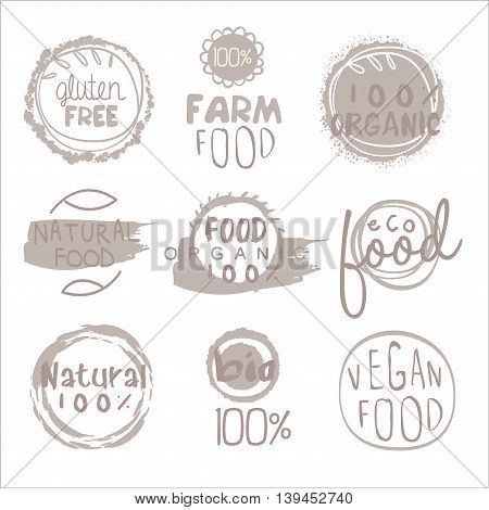 Organic Farm Food Grey Set Of Product Logo Design. Cool Flat Vector Design Template On White Background