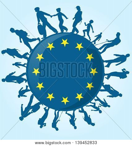 immigration people silhouette blue on european symbol