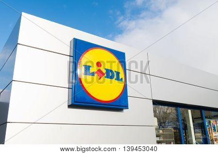 OLDENZAAL NETHERLANDS - NOVEMBER 22 2015: Lidl supermarket. The company is active in a large part of Europe with around 8000 stores in more than 23 countries.