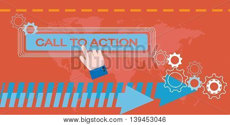 Flat design of web Marketing composition. Call to action concept
