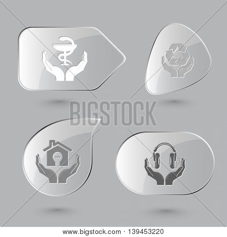4 images: pharma symbol in hands, protection nature, economy, headphones. In hands set. Glass buttons on gray background. Vector icons.