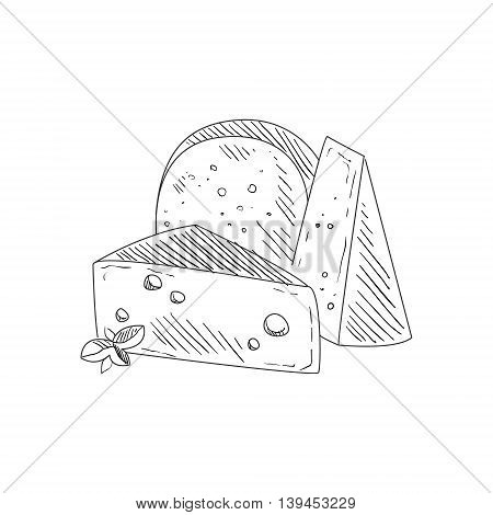 Set Of Three Different Cheeses Hand Drawn Realistic Detailed Sketch In Classy Simple Pencil Style On White Background