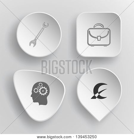 4 images: spanner, briefcase, human brain, monetary sign. Business set. White concave buttons on gray background. Vector icons.