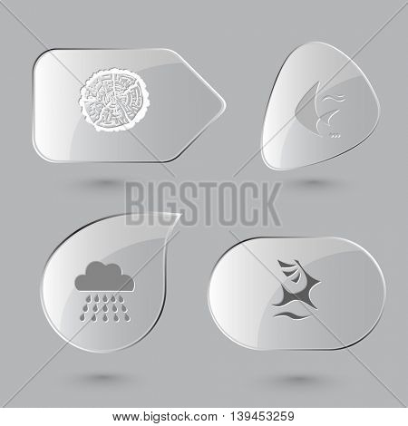 4 images: cut of tree, fish, rain, deer. Nature set. Glass buttons on gray background. Vector icons.