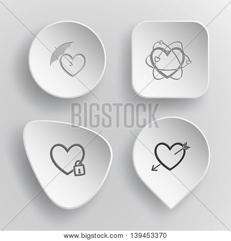 4 images: protection love, atomic heart, closed, and arrow. Heart shape set. White concave buttons on gray background. Vector icons.