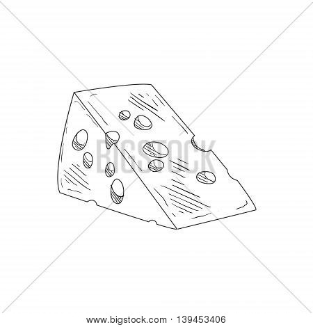 Piece Of Swiss Cheese Hand Drawn Realistic Detailed Sketch In Classy Simple Pencil Style On White Background