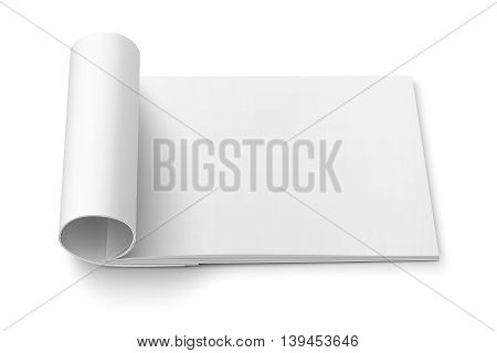 Blank open magazine template with rolled pages on white background . Wide format. Ready for your design. Vector illustration.