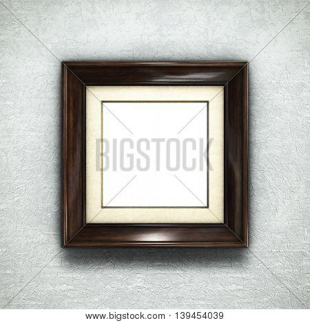 Wooden frame on wallpaper background. 3D rendering