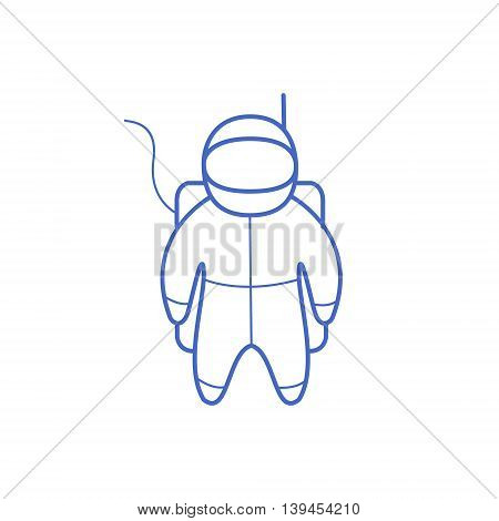 Astronaut Simple Contour Drawing. Linear Bright Color Childish Vector Icon On White Background