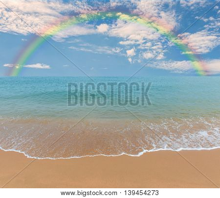 Colorful Rainbow Over A Tropical Beach Of Andaman Sea, Thailand
