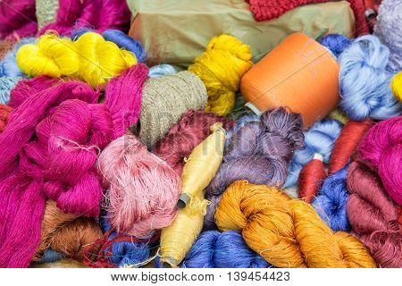 MIX handmade raw colorful silk thread background