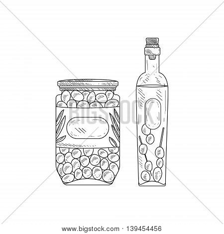 Jar Of Olives And Bottle Of Olive Oil Hand Drawn Realistic Detailed Sketch In Classy Simple Pencil Style On White Background