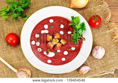 Beetroot Puree Soup with Sour Cream Studio Photo