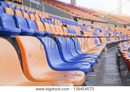 seat for sports in stadium copy space background select focus