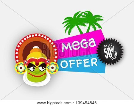 Mega Offer with Flat 50% Off, Illustration of Kathakali Dancer Face and Coconut Trees on grey background for Happy Onam Festival celebration.