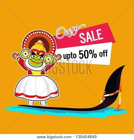 Onam Sale with Discount upto 50% Off, Vector illustration of Kathakali Dancer standing on a snake boat, Can be used as Poster, Banner or Flyer design.