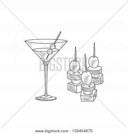 Cocktail With Olive And Canape Hand Drawn Realistic Detailed Sketch In Classy Simple Pencil Style On White Background