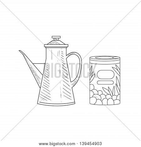 Can Of Olives And Old-school Pitcher Hand Drawn Realistic Detailed Sketch In Classy Simple Pencil Style On White Background