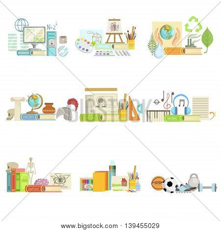 Different School Classes And Sciences Related Objects Cmpositions. Simple Childish Flat Colorful Illustration On White Background
