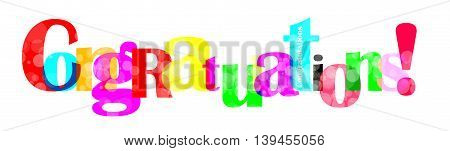 Congratulations letter on white background for you design