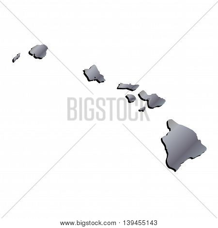 3D Hawaii State USA Aluminium outline map