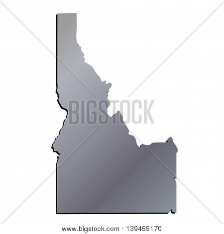 3D Idaho State USA Aluminium outline map
