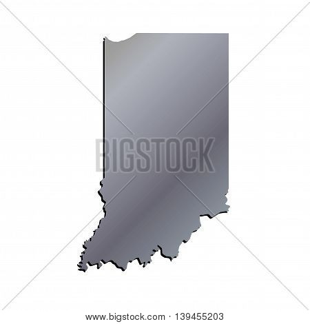 3D Indiana State USA Aluminium Outline Map