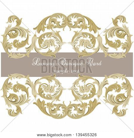 Vector Luxury Gold ornament card. Vector Ornamental frame. Elegant Rich Style border frame engraved with Rococo ornament. Decorative frame border cover. Serenity color ornament