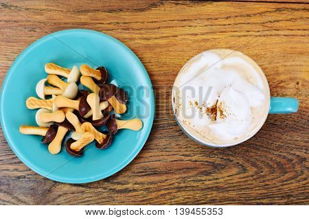 Mushrooms Biscuits with Cappuccino Coffee Studio Photo