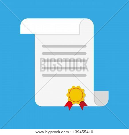White unrolled paper diploma scroll with yellow stamp and red ribbons. Graduation concept. vector illustration in flat style on blue background