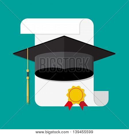 White unrolled paper diploma scroll with yellow stamp, red ribbons and black graduation cap. Graduation concept. vector illustration in flat style on green background