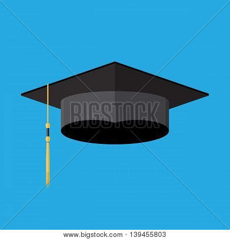 Academic graduation cap. Student hat. vector illustration in flay style