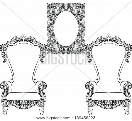 Glamorous Rich Baroque Rococo Furniture set. French Luxury rich carved ornaments furniture. Vector Victorian exquisite Style decor
