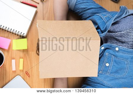 Business young business woman relaxing at office Business concept vintage tone soft focus