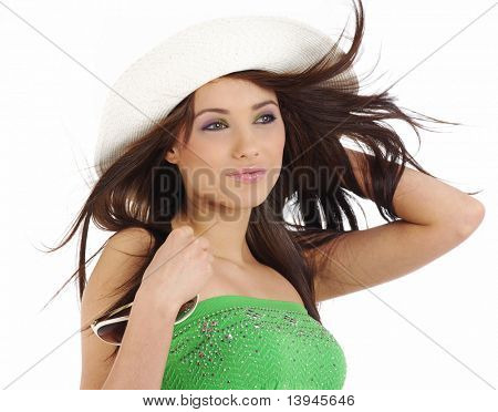 Smiling girl wearing a white hat