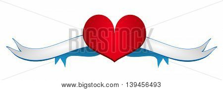 Illustration of red heart with white ribbon isolated
