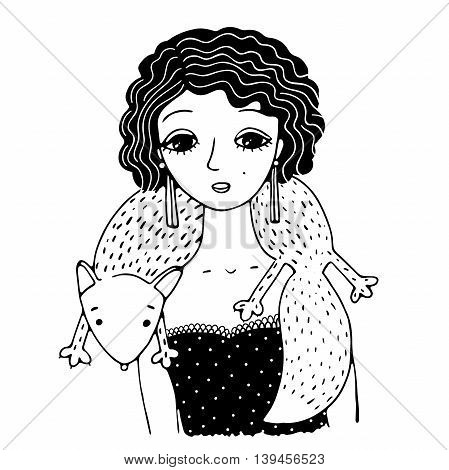 The beautiful young girl. Retro style. The collar of fox. Hand drawing isolated objects on white background. Vector illustration.