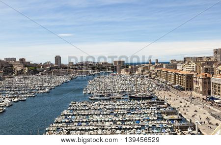 White yachts in the Old Vieux Port in the city center of Marseilles France