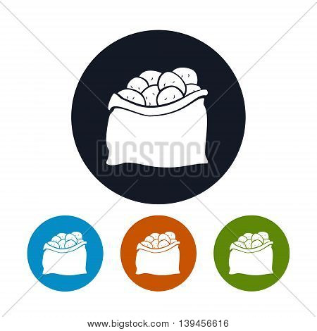 Icon Sack of Potatoes, Four Types of Round Icons Sack of Potatoes ,Vector Illustration