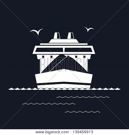 Front View of the Dry Cargo Ship Isolated on Black Background, Industrial Marine Vessel is Transporting Coal and Ore, International Freight Transportation, Vector Illustration