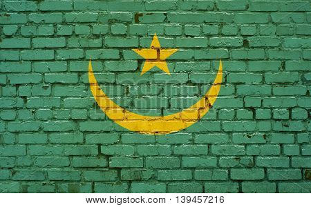 Flag of Mauritania painted on brick wall background texture