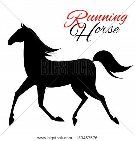 Seamless pattern with running horse. Vector illustration.