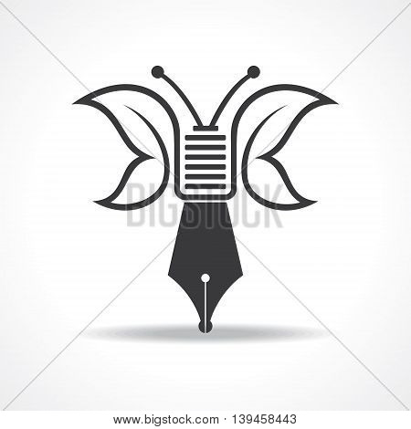 butterfly design with nib of pen stock vector