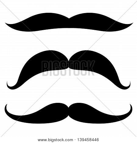Set of mustache of different shapes. Vector illustration.